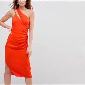 ASOS Beautiful reddish orange, satin midi dress